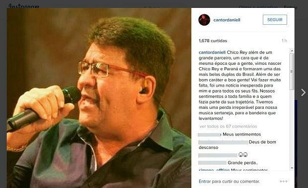 Cantor Daniel lamentou no Instagram morte do colega sertanejo (Foto: Reprodução/Instagram, com imagem de Luiz Ornaghi/Só Notícias)