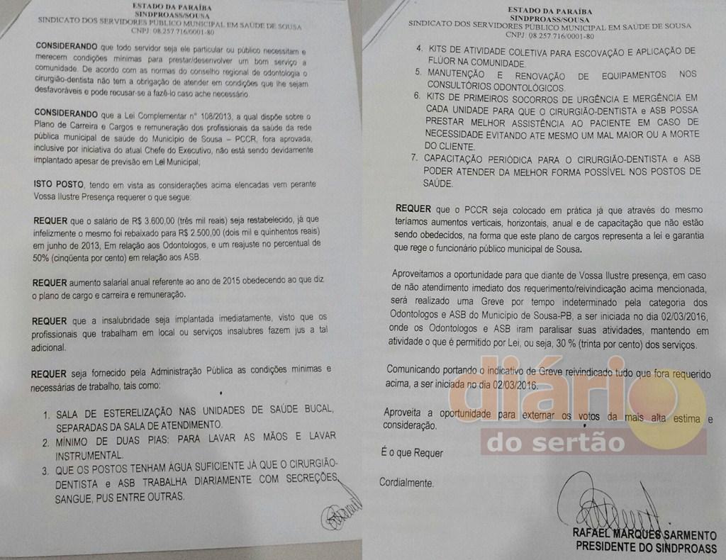 Sindicato enviou oficio à Prefeitura de Sousa