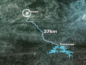 Canal da Redenção liga Açude Mãe D'água a propriedades de Sousa (Foto: Reprodução/TV Globo)