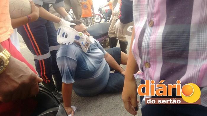 Acidente deixa popular ferido em Sousa (Foto: Diário do Sertão)
