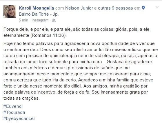 Mensagem postada por Karol nas redes sociais (foto: reprodução)
