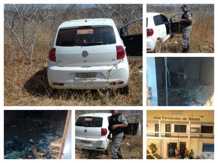 Carro usado na fuga após a explosão aos caixas eletrônicos (foto: ascom/polícia civil)