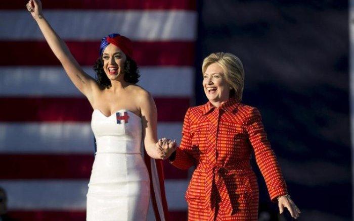 Divulgação Katy Perry não esconde seu apoio pela candidata democrata.