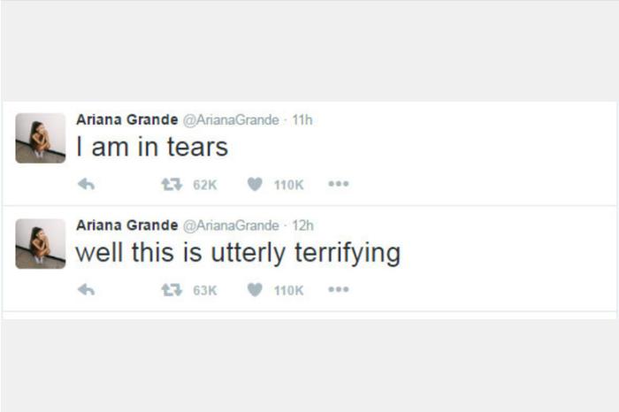 """Ariana Grande disse no Twitter: """"Isso é absolutamente terrível"""" e """"Estou chorando"""""""